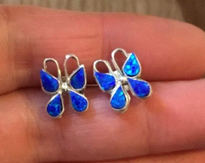 Sterling Silver Opal Butterfly Stud Earrings, Opal Butterfly