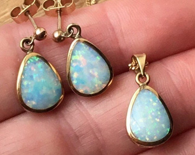 Gold Opal Pendant and Earrings, Unique