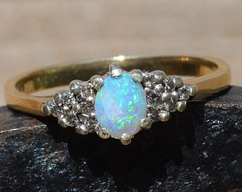 9ct Gold Opal and Diamond Ring, Promise Ring