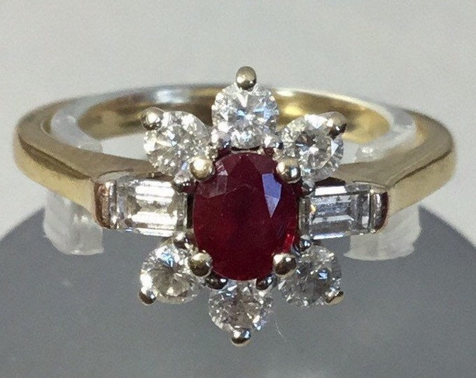 18ct Ruby and Diamond Cluster Ring, Gold Ruby and Diamond, Ruby Cluster Ring