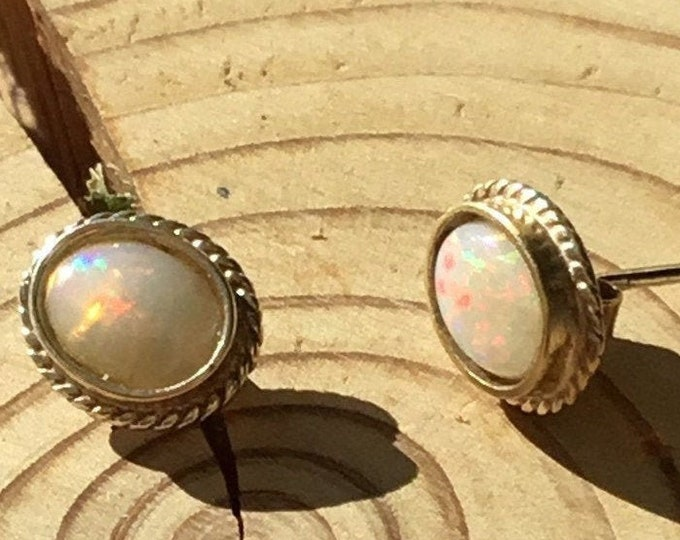 9ct Opal Stud Earrings, Rope Edge