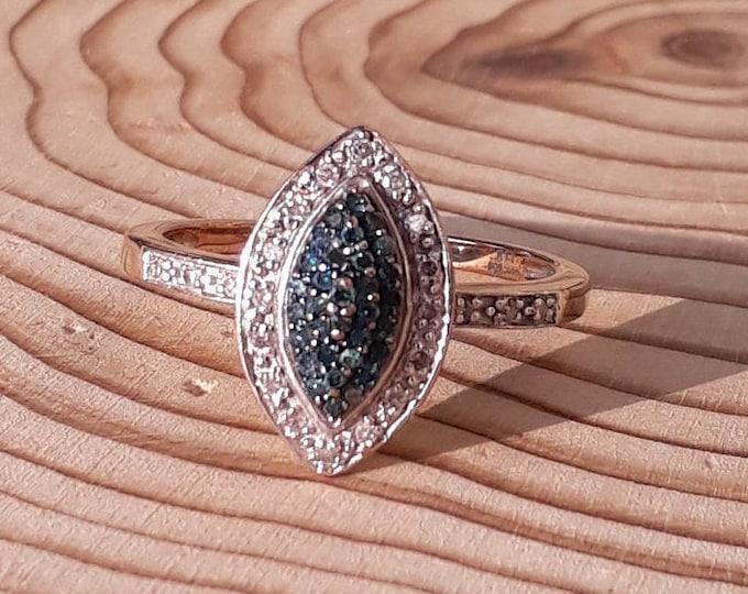 9ct Two Colour Diamond Ring, Blue Diamonds
