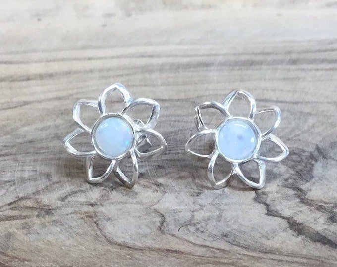 Sterling Silver Opal Stud Earrings, Natural Opal