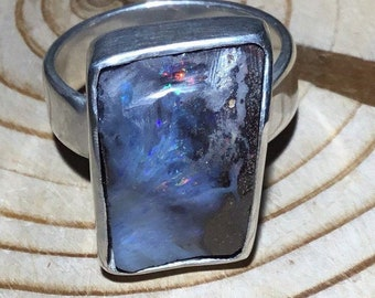 Handmade Silver Boulder Opal Ring, Australian Opal