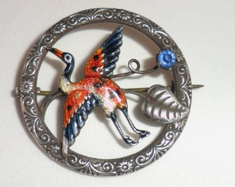 Antique Silver and Enamel Heron Brooch, Victorian