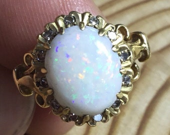 18ct Opal and Diamond Ring, Gold Cluster Ring