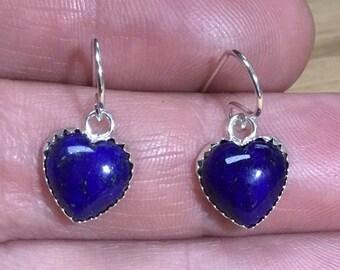 Lapis Lazuli Silver Heart Drop Earrings