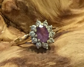 9ct Amethyst Cluster Ring