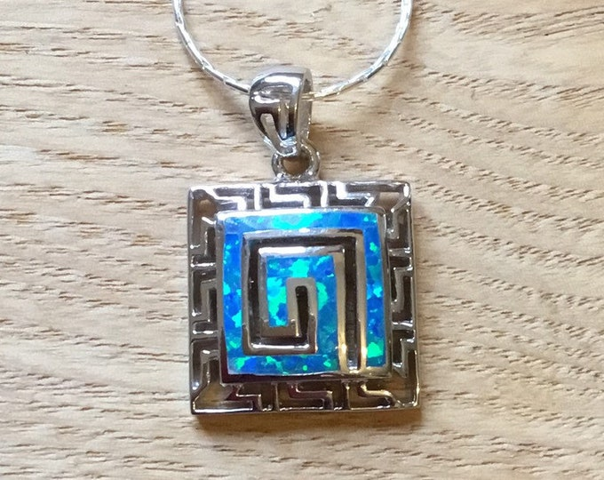 Sterling Silver Opal Square Greek Key Design Pendant and Chain