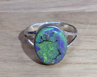 Oval Boulder Opal and Silver Ring, Handmade