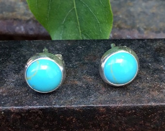 Silver Turquoise Round Studs, 6 mm
