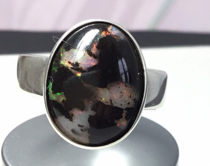 Silver Fossilised Opal Ring, Indonesian Opal, Fossilised Wood and Opal, Large Silver Opal Ring