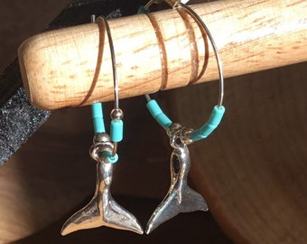 Silver Turquoise Whale Tail Hoop Earrings