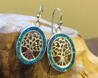Silver Blue Lab Opal Tree of Life Oval Drop Earrings