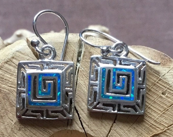 Silver Square Opal Earrings