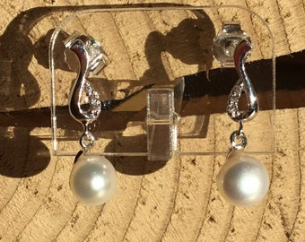Silver Pearl Earrings, White Pearls
