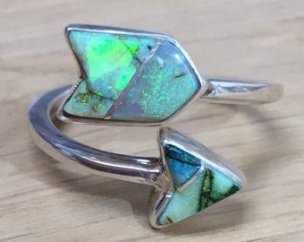 Boulder Opal and Silver Arrow Ring
