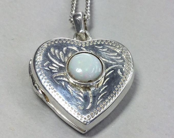 Silver Opal Heart Locket, Opal Heart Pendant