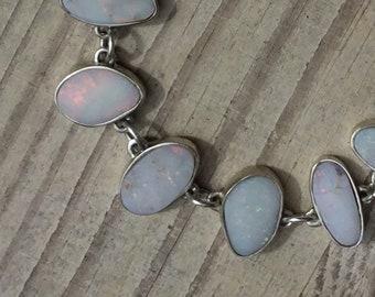 Silver and Opal Bracelet, Coober Pedy Opal, Handmade