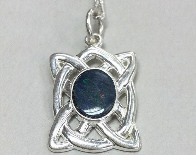 Silver Opal Celtic Pendant