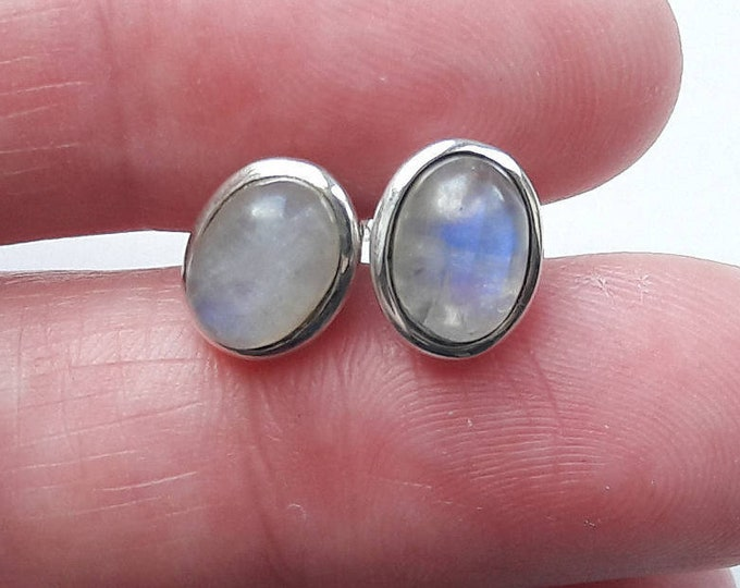 Silver Labradorite Stud Earrings