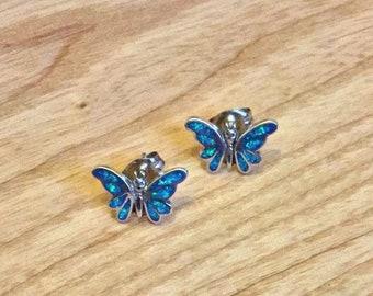 Sterling Silver Opal Butterfly Studs
