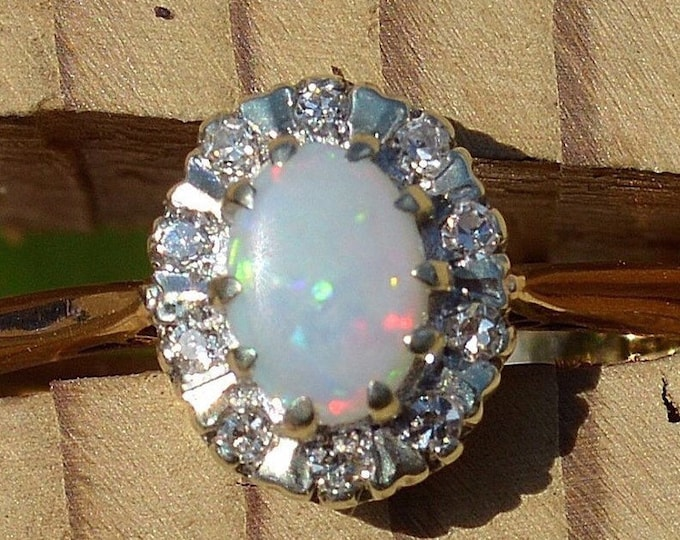 Featured listing image: 9ct Opal and Diamond Cluster Ring
