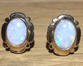 Handmade 9ct Gold Opal Stud Earrings