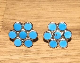 Kingman Turquoise Flower Earrings