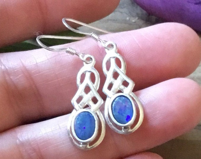 Silver Opal Celtic Earrings