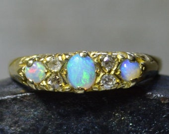 Antique 18ct Gold Opal and Diamond Ring, Australian Opal