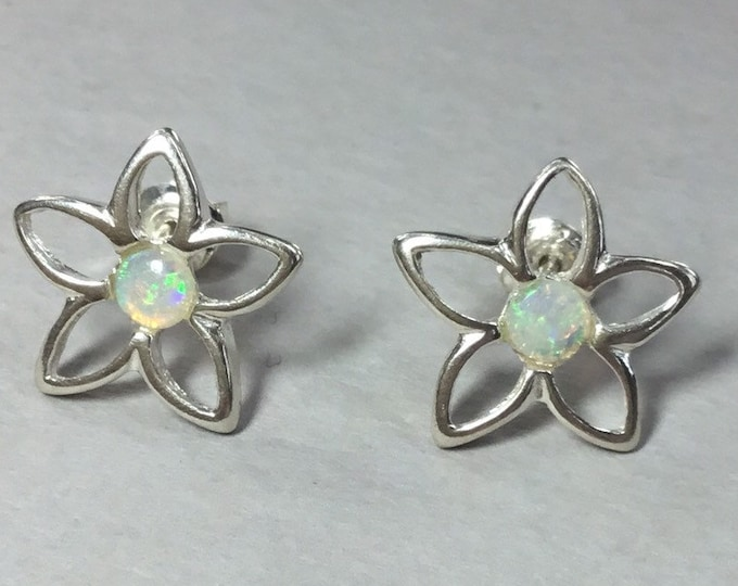 Silver Opal Flower Stud Earrings