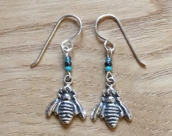 Sterling Silver and Crystal Bee Drop Earrings