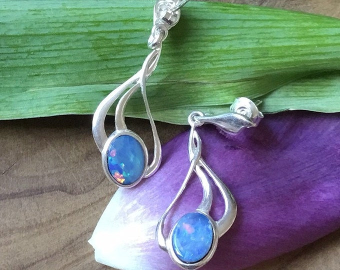 Simplistic Silver Opal Earrings,