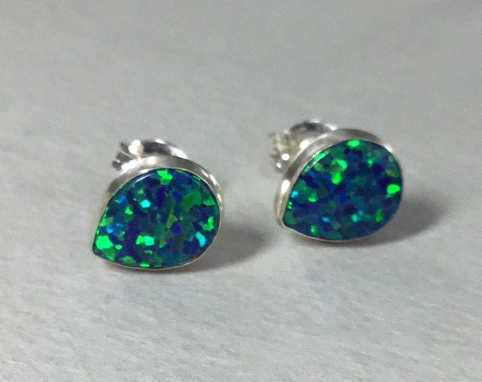 Silver Opal Teardrop Stud Earrings