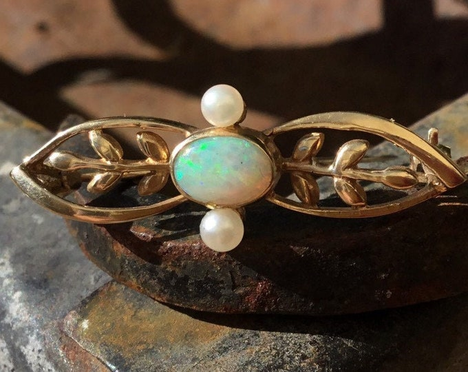 9ct Opal and Seed Pearl Brooch, Gold Opal Brooch