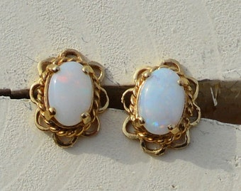 9ct Gold Opal Earrings, Australian Opal
