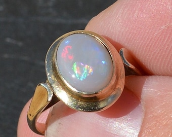 Vintage 9ct Gold Semi Black Opal Ring, Australian Opal