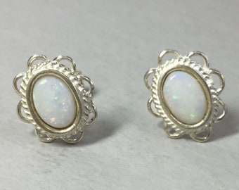 Silver Oval Opal Stud Earrings, Opal Studs, Silver Opal Earrings, Classic Opal Studs