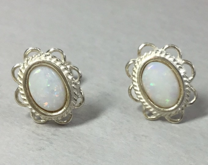 Silver Oval Opal Stud Earrings, Opal Studs, Silver Opal Earrings, Classic Opal Studs