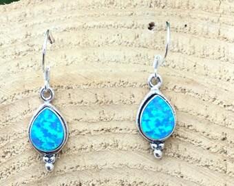Silver Teardrop Opal Earrings, Drop Earrings, Sterling Silver