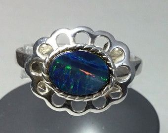 Silver Opal Doublet Ring, Coober Pedy Opal