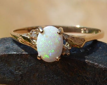 9ct Gold Opal and Diamond Ring, Vintage