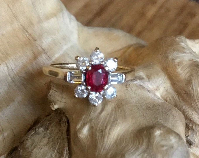 18ct Ruby and Diamond Ring, Cluster Ring