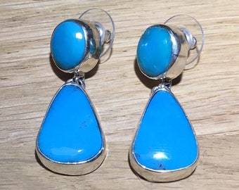 Large Kingman Turquoise Drop Earrings, Sterling Silver