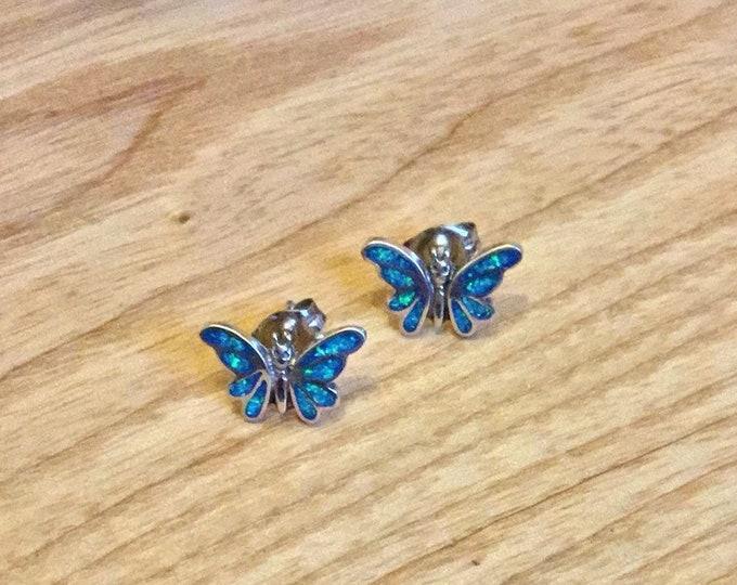 Sterling Silver Opal Butterfly Stud Earrings