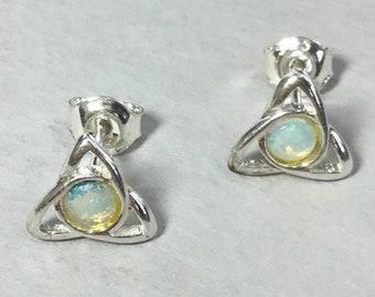 Silver Opal Celtic Stud Earrings, Opal Celtic Studs, Triangle Stud Earrings