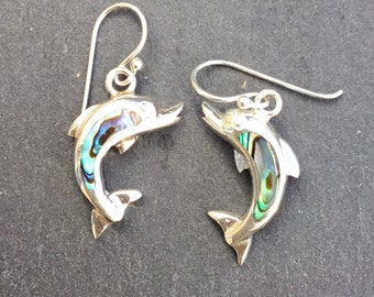 Silver Abalone Shell Dolphin Drop Earrings