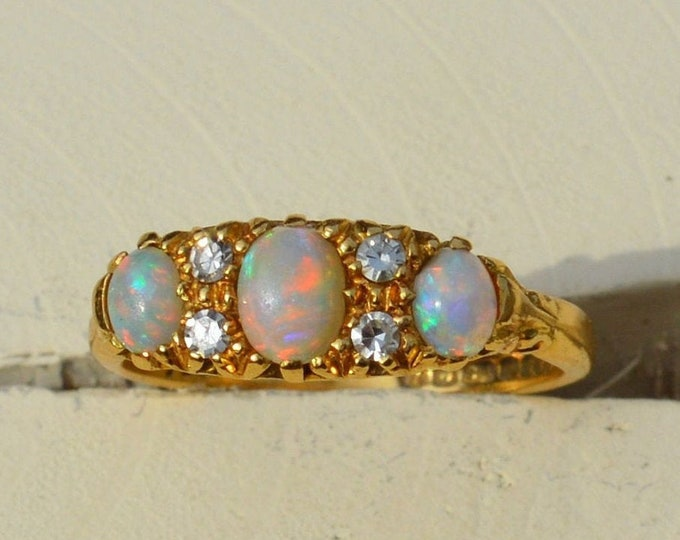 Featured listing image: Antique 18ct Gold Opal and Diamond Ring, Exquisite