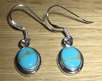 Handmade Silver and Kingman Turquoise Earrings